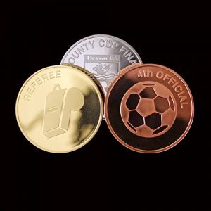 Devon County FA Commemorative Coins were produced in gold, silver and bronze by Medals UK - Rated as Excellent. Great Service in Testimonial from the client