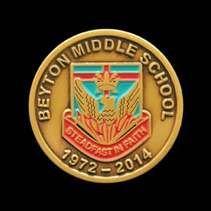 Beyton Middle School 1972-2014 anniversary lapel pin was custom made by Medals UK to commemorate their anniversary