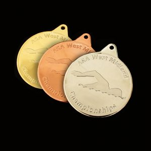 West Midlands Championships ASA Sports Medals produced by Medals UK in gold