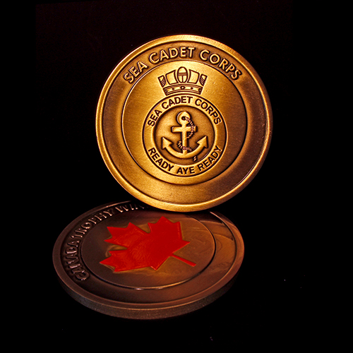 The gold antique 50mm Sea Cadet Corps Commemorative Coin for Canada Trophy Winners