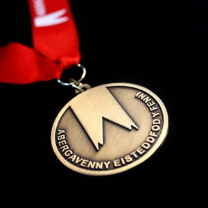 Abergavenny Eisteddfod Award Medals - 50mm Gold Antique Smooth Sports Pendant Obverse - by Medals UK