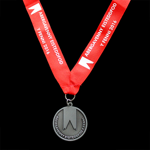 50mm Silver Antique Smooth Sports Pendant Abergavenny Eisteddfod for the Abergavenny Eisteddfod Obverse