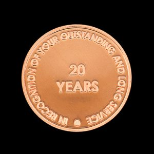 Ards Borough Council Anniversary coin - 38mm bronze minted 20 Years Service Commemorative Coin - by Medals UK