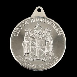 City of Birmingham Swimming Club sports medal - 38mm silver minted City of Birmingham Swimming Club Crest awards medal - Medals UK