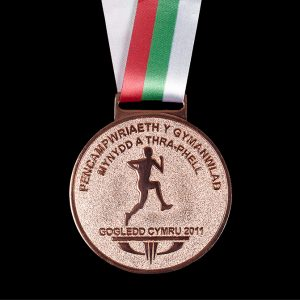 Hill Running World Cup 2011 - 60mm frosted/polished custom made sports medal with ribbon