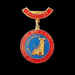 Custom made International Wine & Spirit IWSC Directors Medal with broach bar & ribbon - 34mm gold