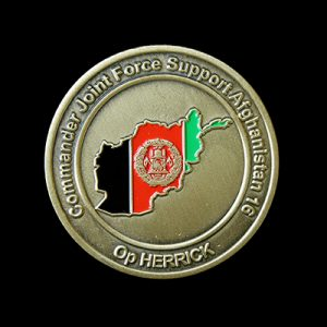 RAF Wittering 45mm Enameled Gold Commander Joint Force Support Afghanistan Op Herrick Commemorative Coin