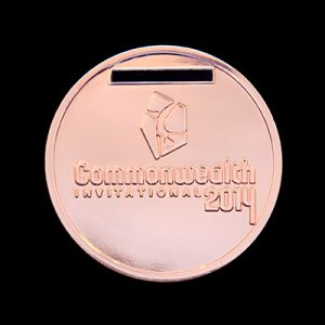 Scottish Gymnastics 50mm Silver Polished Commonwealth Invitational 2014 Sports Medal