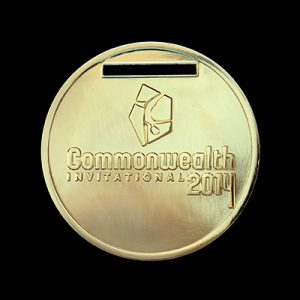 Scottish Gymnastics 50mm Gold Polished Commonwealth Invitational 2014 Sports Medal