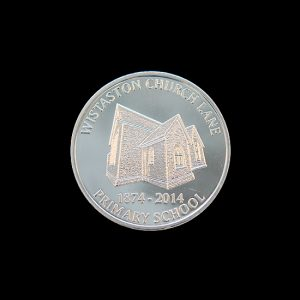 Wistaston Church Commemorative Coin - celebrating 140 years of Wistaston Church Lane Primary School - 38mm silver minted Anniversary Commemorative Coin - by Medals UK