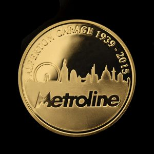Metroline Commemorative Coin custom made to be awarded to best London Garage 2015 by Medals UK