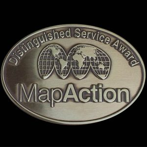 Map Action Awards Medal 25mm Silver Enamelled Lapel Pin - Medals UK