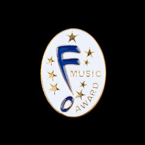 Music Award Lapel Pin 25x15mm Gold Enamelled - Medals UK