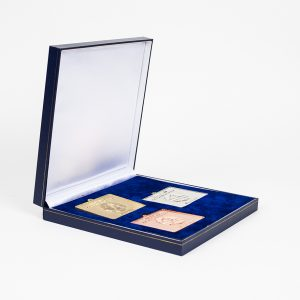 Sainsburys School Games Sports Medals - 2013 Finals 50mm Frosted Polished Rectangle Sports Medal set of Gold Silver Bronze in a blue leatherette case