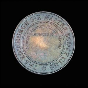 The Sir Walter Scott Award Medal - 54mm bronze antique medal for Scottish Literary Studies Award Reverse - Medals UK