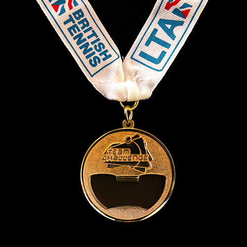 LTA Tennis Team Challenge Sports Medal is cut out cleverly and can double up as a bottle opener!
