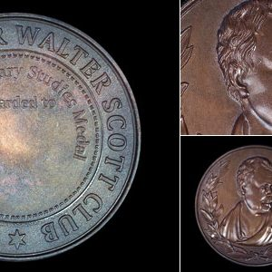 The Sir Walter Scott Club 54mm Bronze Antique Medal for Scottish Literary Studies Award